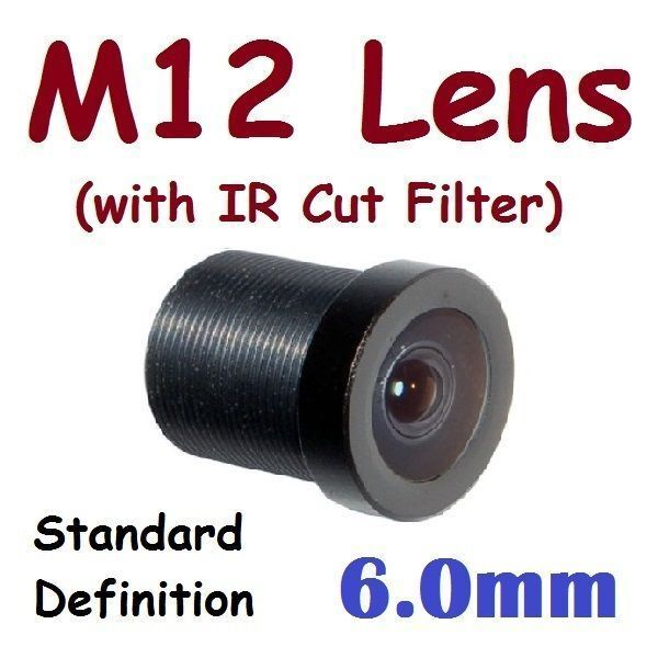 Sunvision CCTV 6.0mm Monofocal 52⁰ AOV M12 Board Lens + IR Cut Filter for FPV