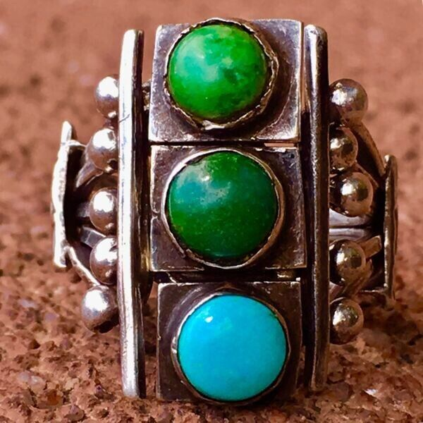 1920s Puzzle Navajo Native Turquoise Silver Ingot Ring Old Small Early Stoplight