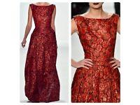 Guido Maria Kretschmer Premium Burgundy Jacquard Gown 10UK- RRP £1,350