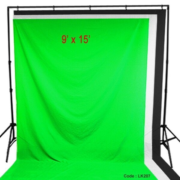 All 3 Photo Studio Muslin & Backdrop Support Stand Kit Chromakey Screen