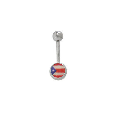 Belly Button Ring with Puerto Rican Flag Logo 14G Navel Ring Piercing Jewelry