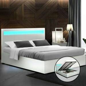 Artiss LED Bed Frame Queen Size Gas Lift Base With Storage White Leath