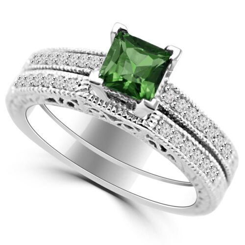 Princess Green Tourmaline Matching Engagement Wedding Ring Set 14k White Gold