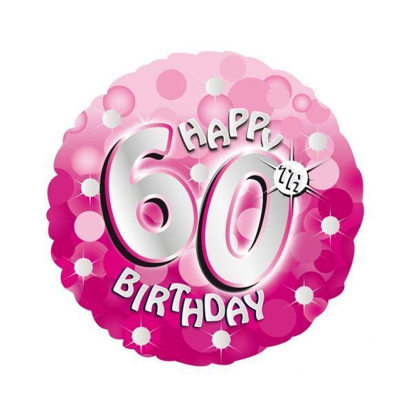 "Pink Sparkle Happy 60th Birthday 18"" Helium Foil Balloon Party Decorations"