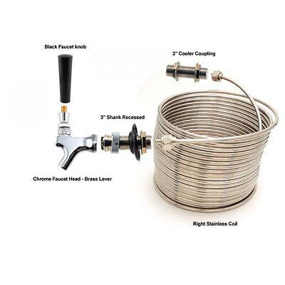 Single Faucet Jockey Box - 50 Coil - Faucet Hardware Kit Wout Cooler - Picnic