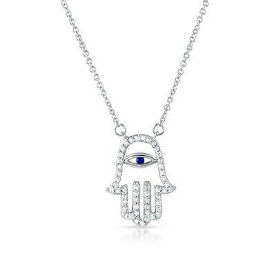 (Fine CZ Sterling Silver Hamsa Womens Necklace)