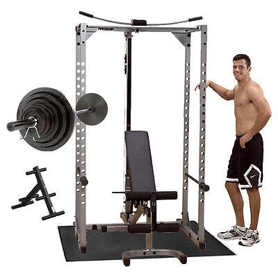 Powerline Power Rack PPR200X Package, Bench, Lat, 300 lb Set, Mat, Plate Tree