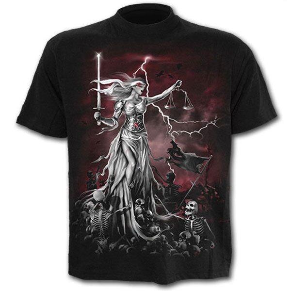 Spiral Direct Blind Justice Sword & Skeleton Black Short Sleeved Tshirt Top