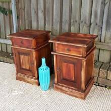 Distressed Teak Bedside Tables Cabinets Lockers Drawers Upcycled Coogee Eastern Suburbs Preview