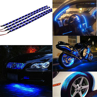 Blue 4Pcs 30Cm 15 Led Car Motors Truck Flexible Strip Light Waterproof 12V