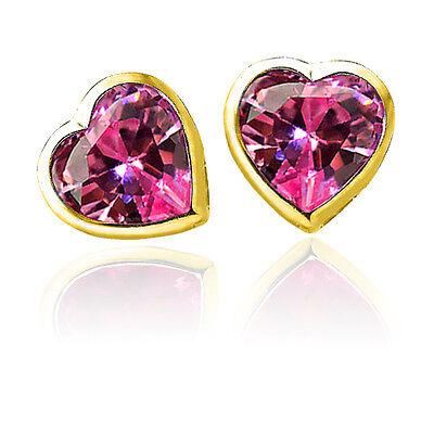 3 Mm Sapphire Heart - 3mm-6mm Women/Children's Stylish Heart Pink Sapphire ScrewBack Earrings 14K YG