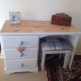 Shabby Chic Dressing Table and Footstool