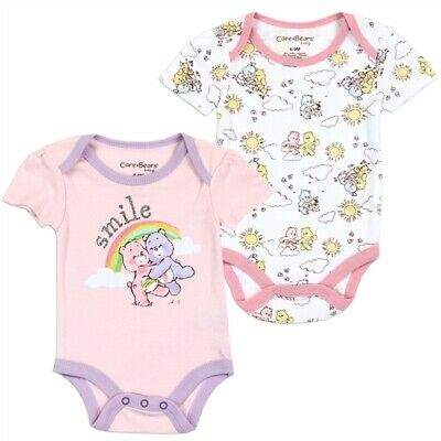 Care Bears Girls Infant NewBorn Baby Shower Bodysuit One Piece Pink Cat 2PC Set - Care Bear Baby Shower