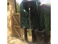 Garden heater with gas and rain cover