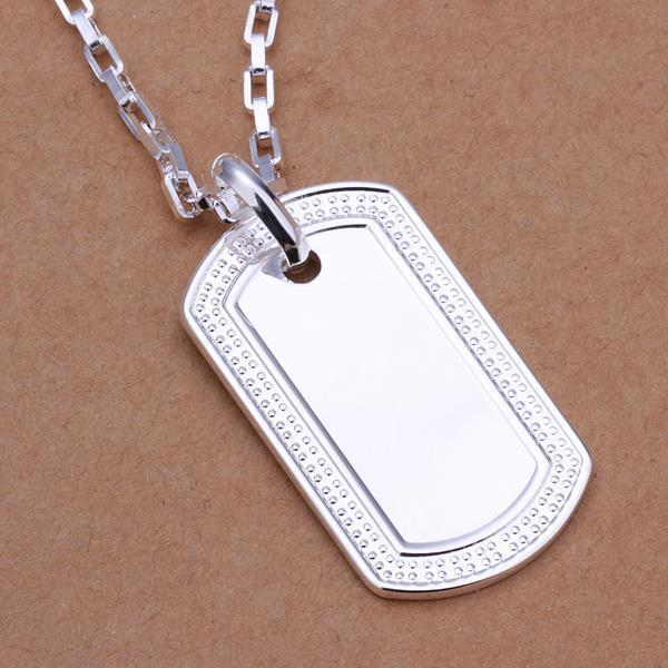 """Mens Womens Sterlling Silver Dog Tag Pendant 20"""" Link Chain"""