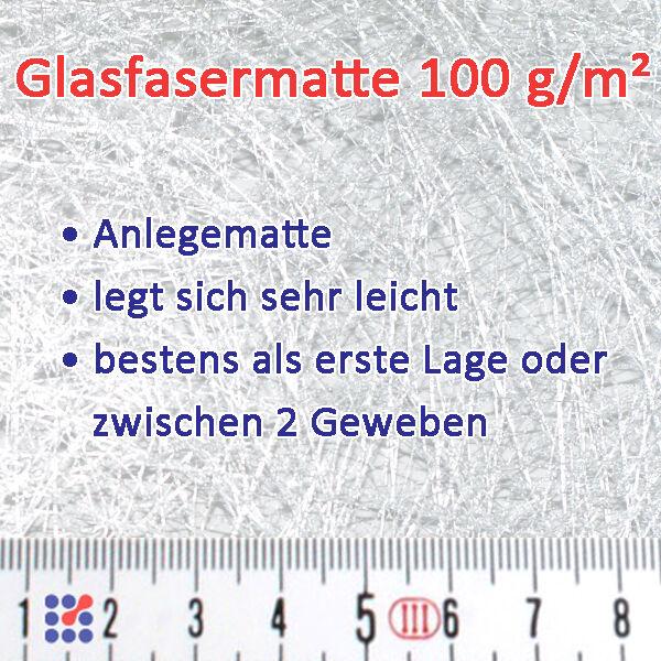 GLASMATTE, GLASVLIES, GLASFASERMATTE F. POLYESTERHARZ  EPOXIDHARZ POLYESTERVLIES Glasmatte 100 g/m²