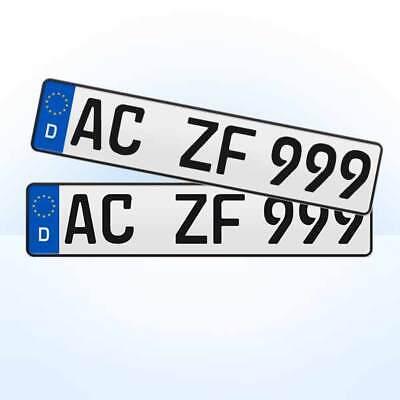 2 Stück EU KFZ Nummernschilder + Kennzeichen + Autoschilder #1 / Versand via DHL