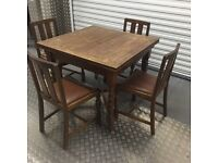 Extending Wooden Antique Table & Chairs