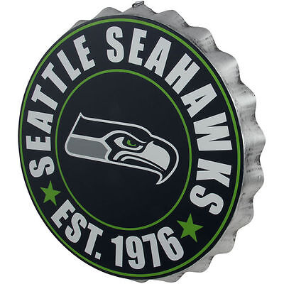 - Seattle Seahawks Bottle Cap Sign - Est 1976 - Room Bar Decor NEW 13.5