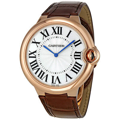 Cartier Ballon Bleu Extra Large Silver Dial 18kt Rose Gold Leather Mens Watch