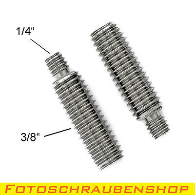 """2x Edelstahl Stiftschraube 1/4""""- 3/8""""  (Stativschrauben, Stativadapter, Foto)"""