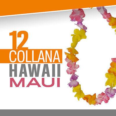 COLLANA HAWAII MAUI 12 Pz - festa hawaiana party fluo braccialetti luminosi