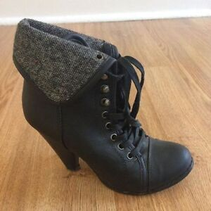 Black Faux Leather Lace Up Heeled Boots