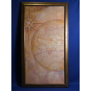 Framed Vintage Style Print of World Map, 23 x 40.5 in.