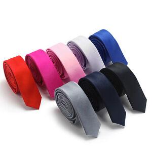 Classic-Skinny-Slim-Tie-Solid-Color-Plain-Silk-Mens-Jacquard-Woven-Necktie-5cm