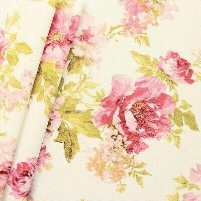 Kissen Kissen Stoff (Baumwoll Dekostoff Rosen groß WEISS 140cm breit METERWARE Kissen Vorhänge)