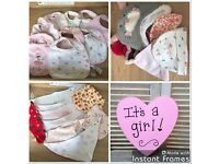 Baby girl bibs and hats