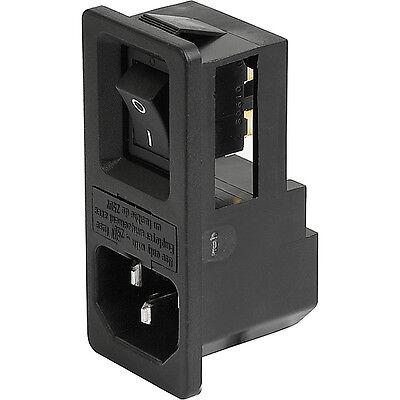 Einbau-Kaltgeräte-Stecker mit Sicherungshalter Unbeleuchtet