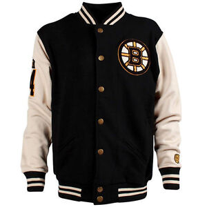 Boston Bruins Men's Old Time Hockey Fleece Varsity Jacket