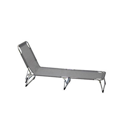 Lifetime Garden Sunlounger Grey Foldable 3 Position Garden Outdoor Beach Relax