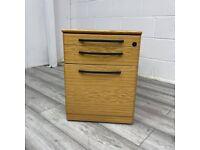 Mobile Office Pedestal, Under Desk, Beech, 3 Drawer, Lockable