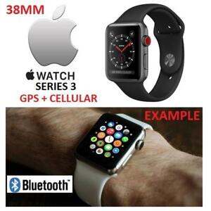NEW APPLE WATCH SERIES 3 38MM MQJP2LL/A 201080291 GPS+CELL SPACE GREY ALUMINUM W/BLACK SPORT BAND GPS + CELLULAR