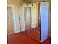 Ikea Pax Wardrobe With Mirrored Sliding Doors 200x202 cm