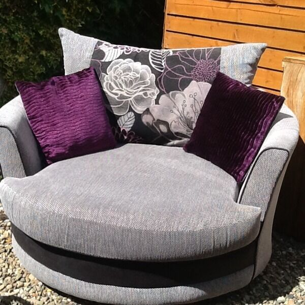 Cuddle Chair In Grey With Purple And Gray Reversible