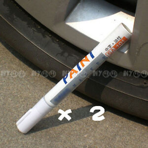 2-x-White-Tyre-Tire-Painting-Pens-Tread-Trim-Maker-for-Car-Toyota-GM-Ford-Honda