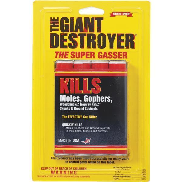 Giant Destroyer 00333 Gas Bomb - Gopher, Mole & Rat Killer - Pack Of 2 4packs (8 Total)