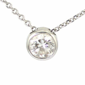 14k White Gold Bezel Set Solitaire Pendant with Chain #3568