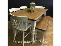 5FT NEW HANDMADE PINE FARMHOUSE TABLE BENCH AND CHAIRS
