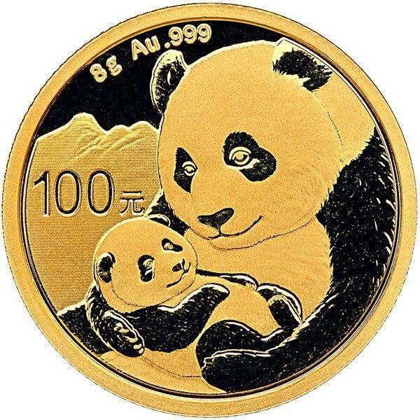 8 Gramm Gold Panda China 2019 Goldmünze 999 Stempelglanz Original eingeschweißt
