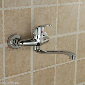 Long Kitchen Sink : Chrome-Wall-Mounted-Long-Spout-Kitchen-Sink-Faucet-Vessel-Mixer-Tap ...