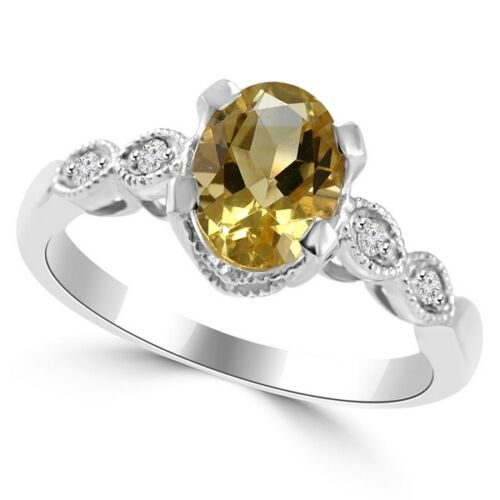 Yellow Citrine Diamond 14k White Gold Engagement Cocktail Ring Vintage Antique