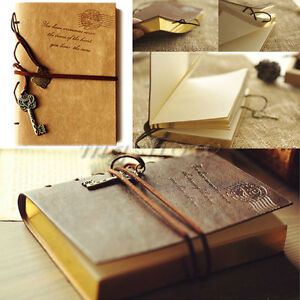 Retro-Classic-Vintage-Leather-Key-Blank-Diary-Journal-Sketchbook-Notebook-New
