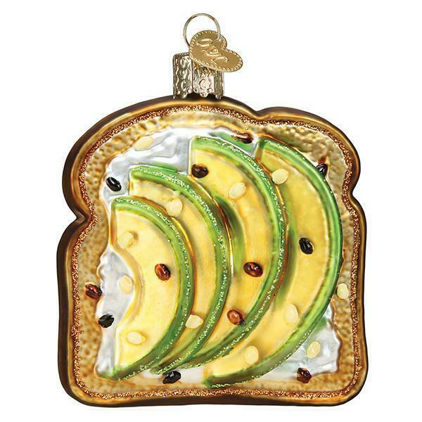 AVOCADO TOAST OLD WORLD CHRISTMAS GLASS BREAKFAST SNACK FOOD ORNAMENT NWT 32442