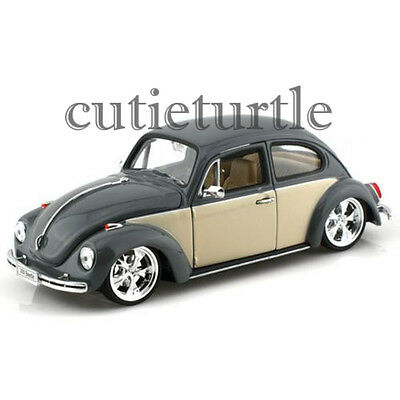 Welly Low Rider VW Volkswagen Beetle 1:24 Diecast Model Car 22436 2 tone Grey (Diecast Lowrider Model Cars)