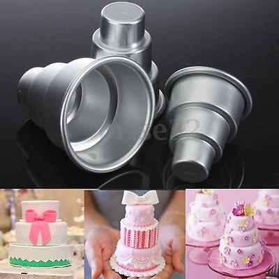 Wedding Baking (3 Sizes Mini 3-Tier Wedding Cake Tins Pudding Pan Baking Muffin Bakeware)