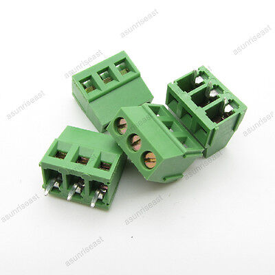 100 Pcb Screw Terminal Block 3 Pole 5mm Pin Pitch For 22-12awg Wire 300v 10a